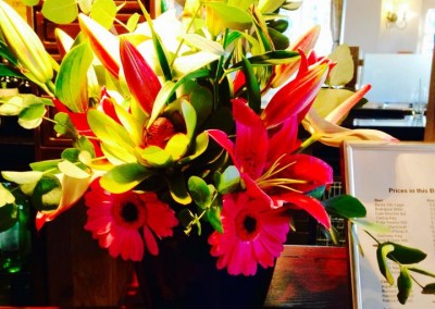 red corporate flowers